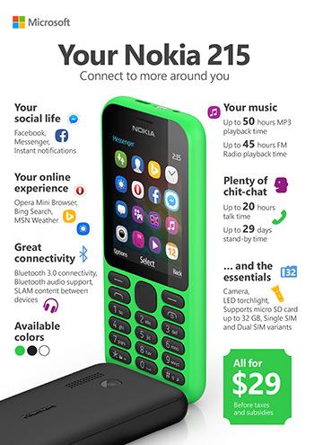 Nokia 215 Infographie